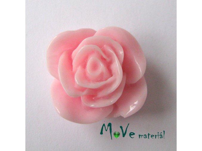 Kabošon -růže - lesklý resin 1ks, růž., II. jakost
