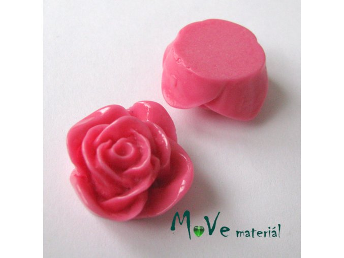Kabošon -růže - lesklý resin B7 - 2ks, tm. růžový
