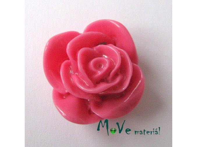 Kabošon -růže - lesklý resin1ks, růž., II. jakost