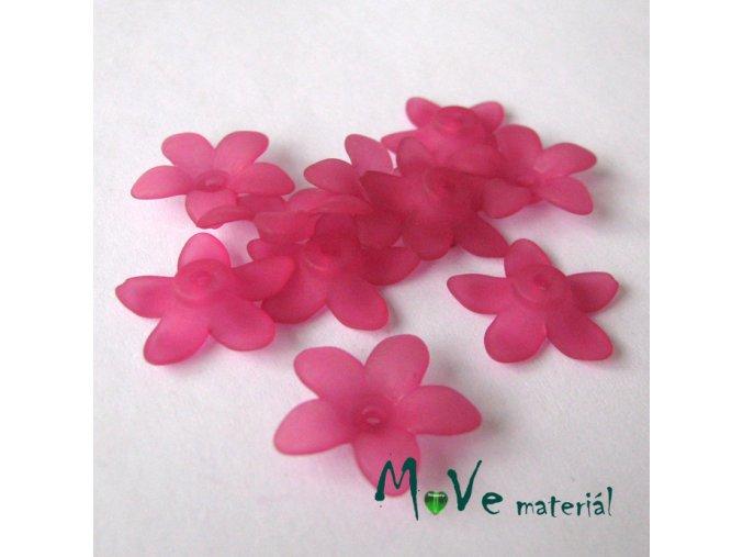 Akrylové transparentní květy 17x4mm, 10ks, růžové