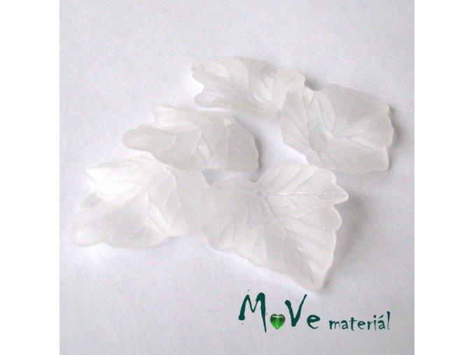Akrylové matné lístečky, 5ks, bílé