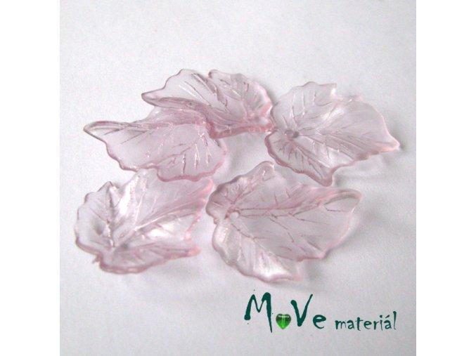 Akrylové transparentní lístečky, 5ks, růžovofial.