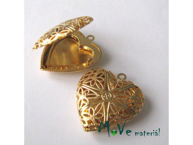 Medailónek srdce filigrán 26x26mm1ks, zlaté