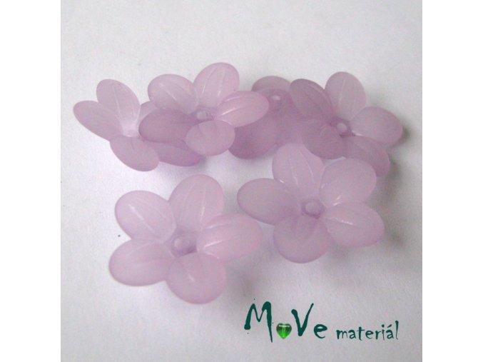 Akrylový transparentní květ 20mm, 6ks, fialový