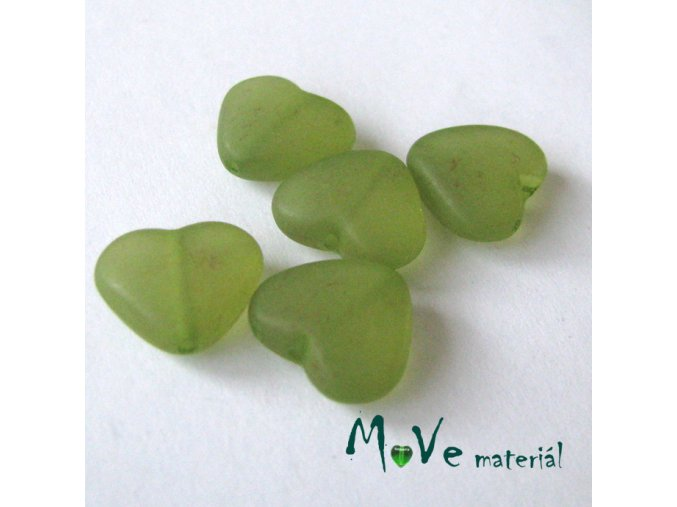 Korálek plast srdíčko 12x13,5x5,5mm, 5ks, zelené