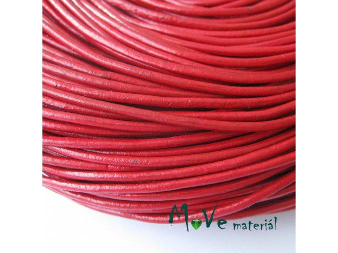 Kulatá přírodní kůže 2mm/1m, červená