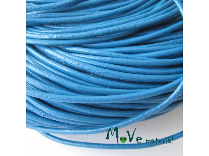 Kulatá přírodní kůže 2mm/1m, modrá