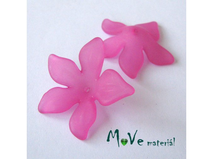 Akrylový květ 29x27mm, 2ks, tm. růžový