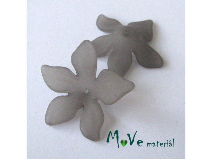 Akrylový květ 29x27mm, 2ks, šedý