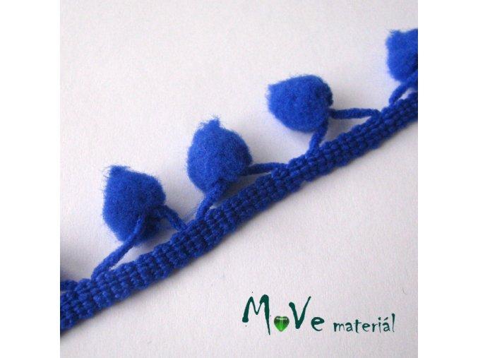 Prýmek šíře 20mm bambulky10mm, 1m, modrý