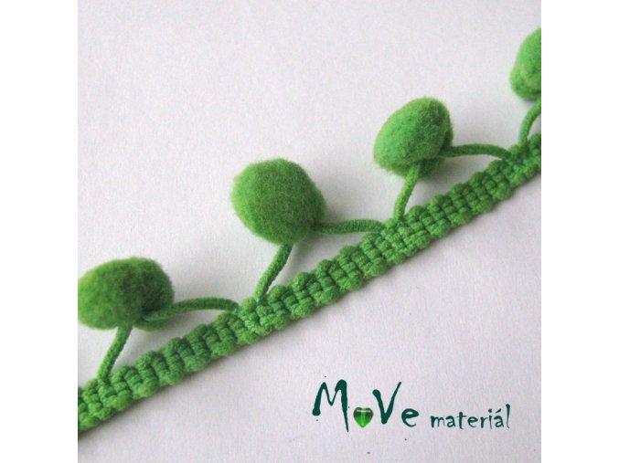 Prýmek šíře 20mm bambulky10mm, 1m, zelený