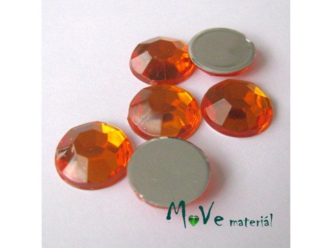 Plastový kabošon 12x3,6mm/6ks, oranžový