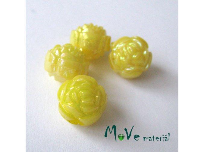 Akrylový korálek - květina, 4ks, žlutý