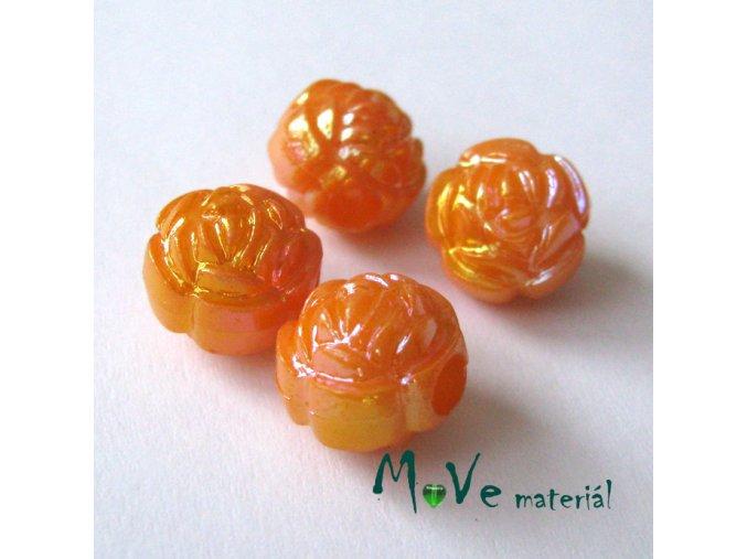 Akrylový korálek - květina, 4ks, sv. oranžový