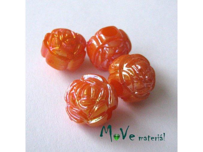 Akrylový korálek - květina, 4ks, tm. oranžový