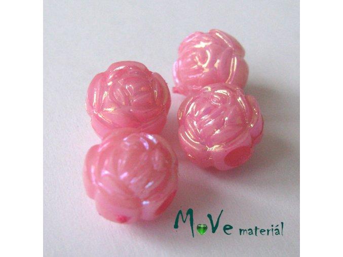 Akrylový korálek - květina, 4ks, sv. růžový