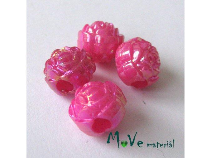 Akrylový korálek - květina, 4ks, tm. růžový