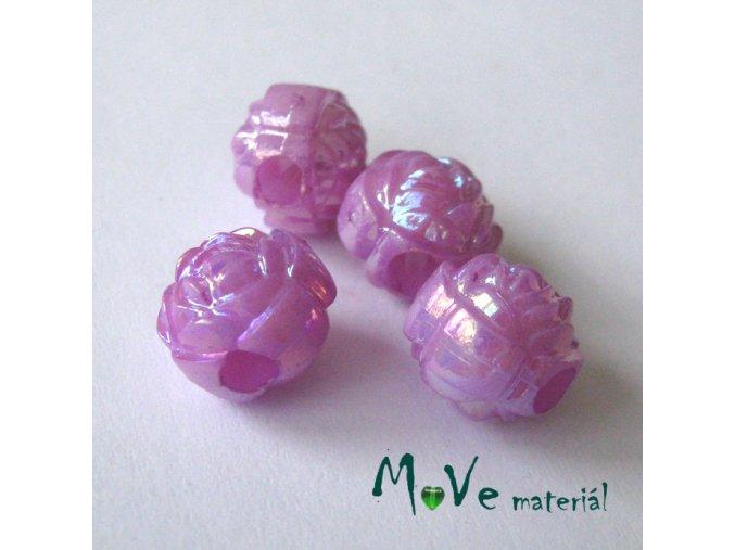 Akrylový korálek - květina, 4ks, fialový