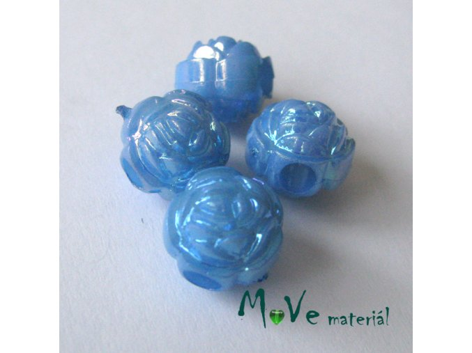 Akrylový korálek - květina, 4ks, modrý