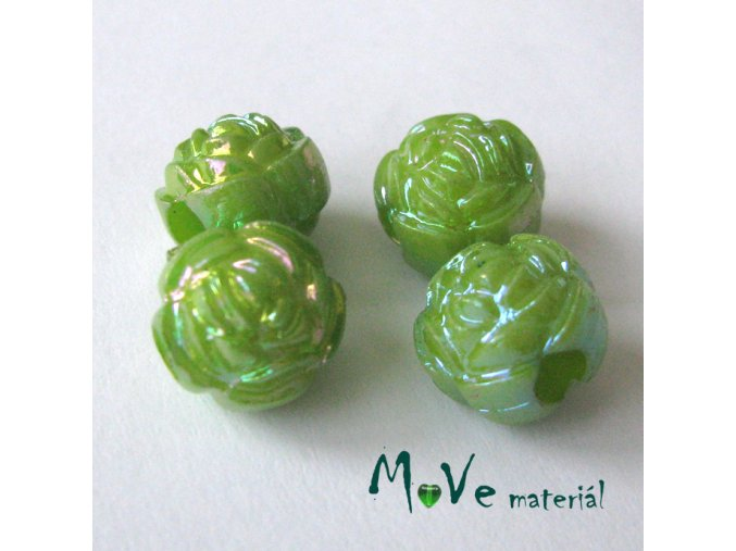 Akrylový korálek - květina, 4ks, zelený