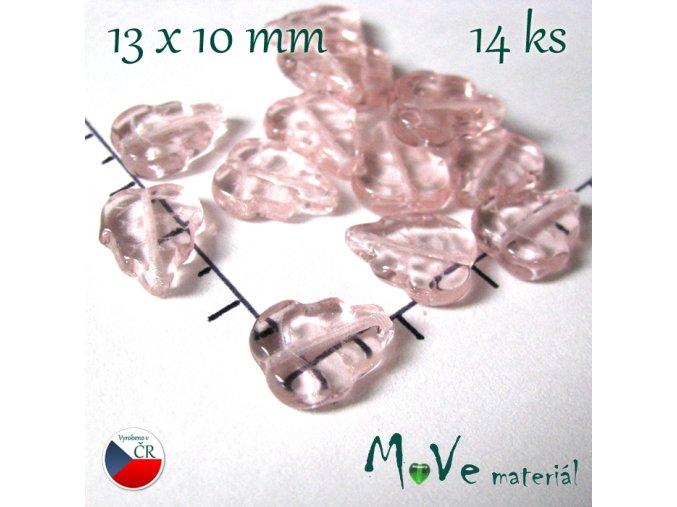 České skleněné lístečky růžové 13x10 mm 14 ks
