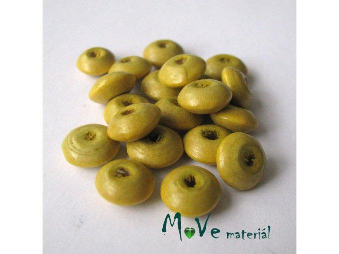 Dřevěný korálek disk 9x4mm, 20ks, tm. žlutá
