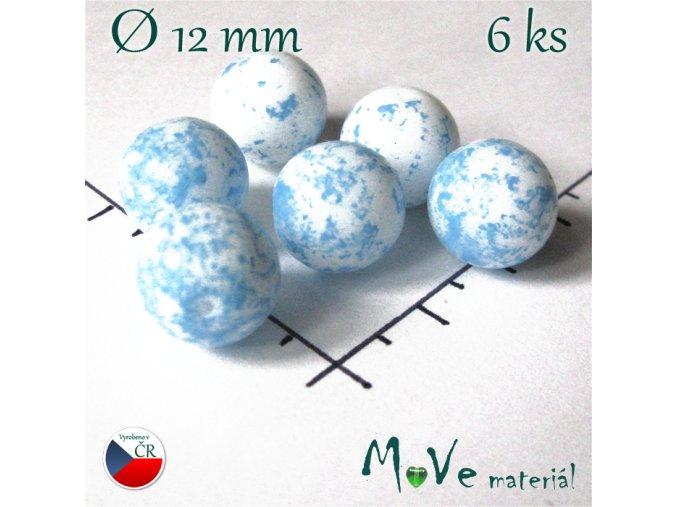 České skleněné bílo-modré kuličky 12mm 6 ks