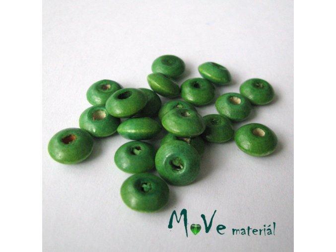 Dřevěný korálek disk 9x4mm, 20ks, zelená