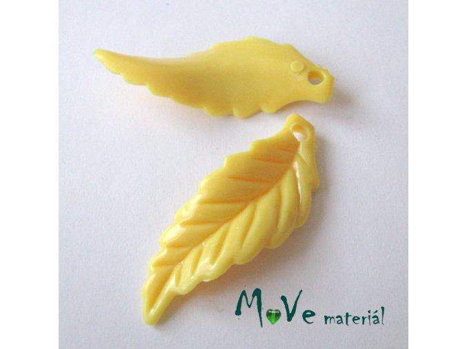 Akrylové lístečky zvlněné, 2ks, žluté
