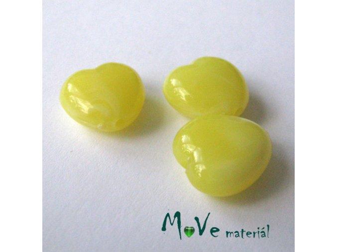 Akrylová srdíčka žíhaná 14x14x6mm,3ks, žluté