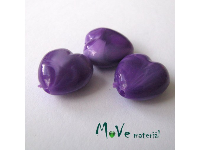 Akrylová srdíčka žíhaná 14x14x6mm,3ks, fialová