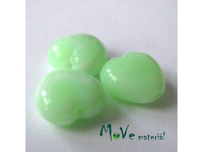 Akrylová srdíčka žíhaná 14x14x6mm,3ks, sv. zelená