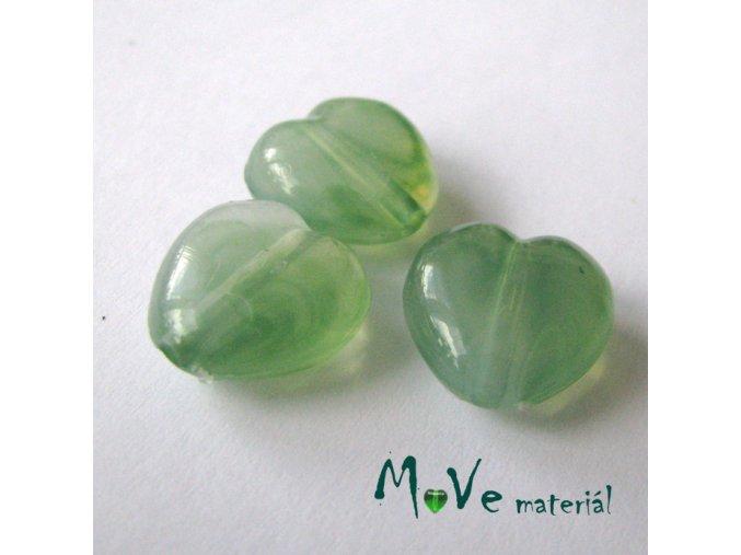 Akrylová srdíčka žíhaná 14x14x6mm,3ks, tm. zelená