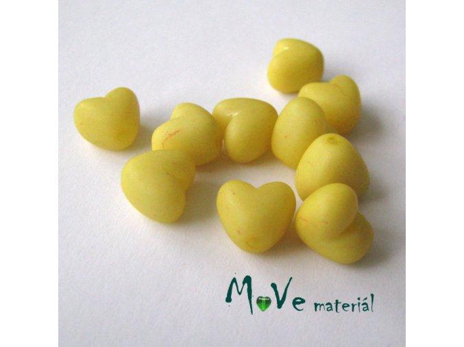 Akrylová srdíčka 9x9x7mm,10ks, žlutá