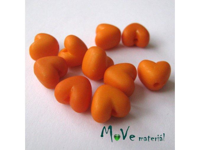 Akrylová srdíčka 9x9x7mm,10ks, oranžová