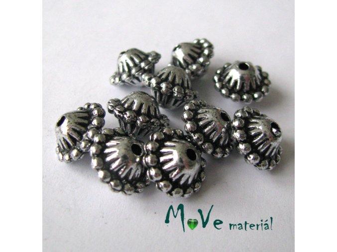 Akrylový korálek imitace kovu, 10ks, starostříbro