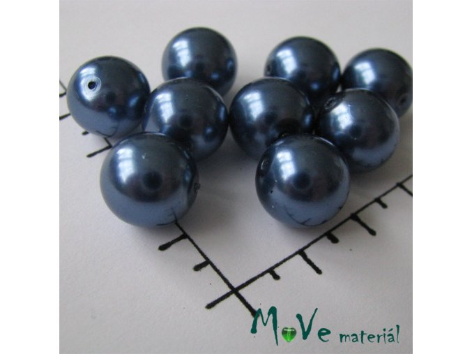 České voskové perle modré 12mm, 9ks