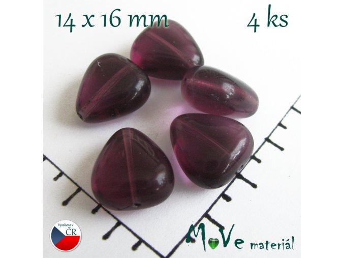 České skleněné trojúhelníčky 14x16mm, 4ks