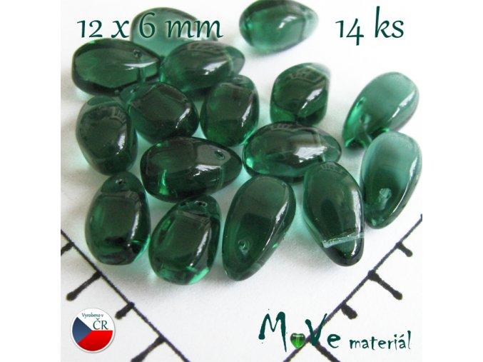 České skleněné zelené kapky 12 x 6mm 14 ks