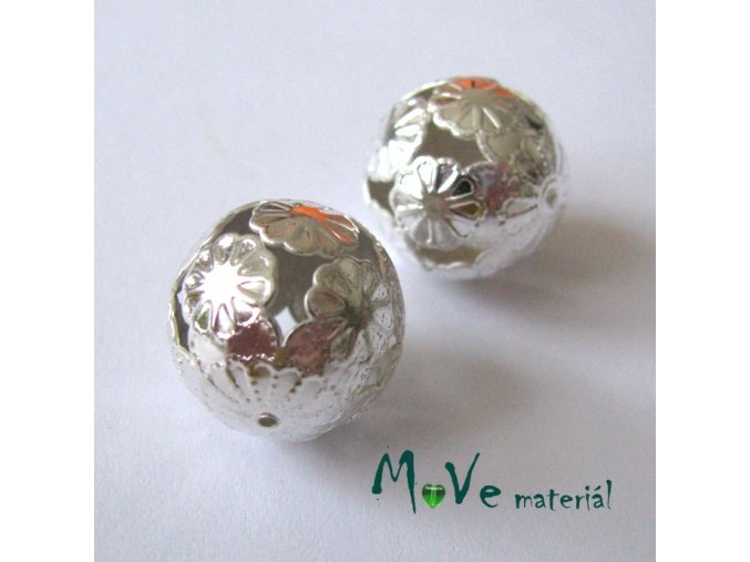 Filigránový korálek, 1ks, stříbrný