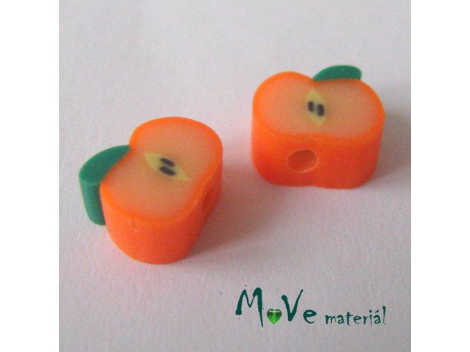 Fimo korálky 8x4mm, 2kusy, oranžové