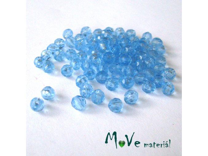 Korálek plast - broušený 5mm, cca 70ks, modrý