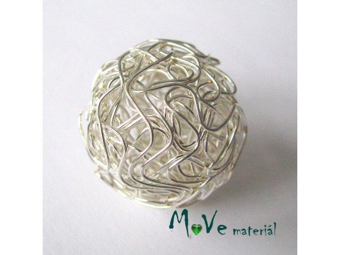 Kovový korálek klubíčko, stříbrné, 25mm, 1ks