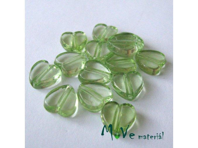 Akrylová srdíčka 9x8.5x4mm,14ks, zelená