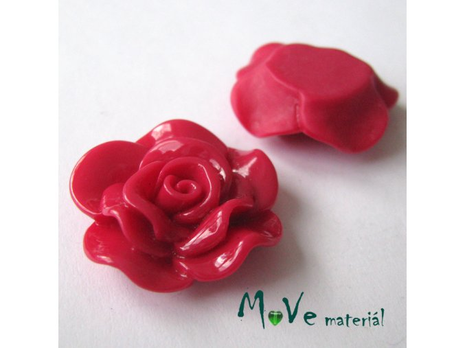 Kabošon květ lesklý B1 - resin - 1ks, červený