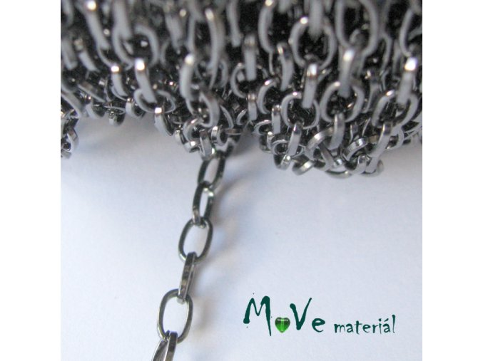 Řetízek kovový - 3,8 x 6,9mm, délka 1m, antracit
