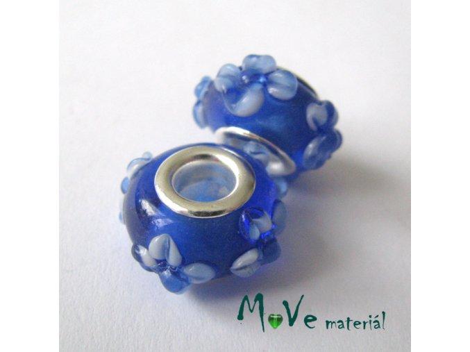 Korálek skleněný s širokým průvlekem 1kus, modrý