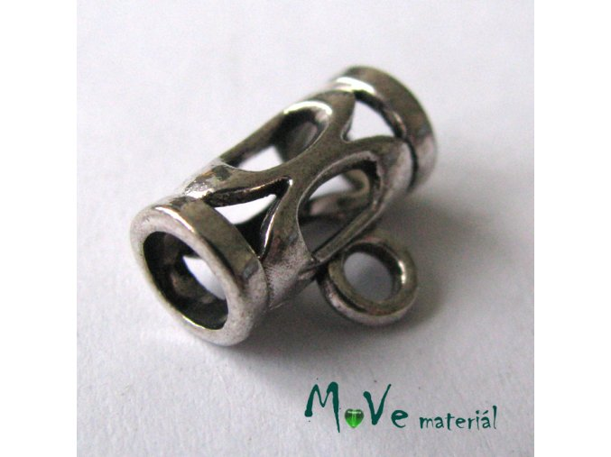 Korálek kovový 7,9x5,5mm, 2ks, starostříbro