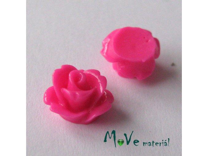 Kabošon květ lesklý C4 - resin - 2ks, tm. růžový