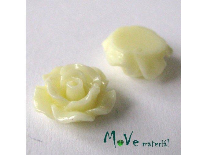 Kabošon růžička lesklá D2 - resin - 2ks, vanilková